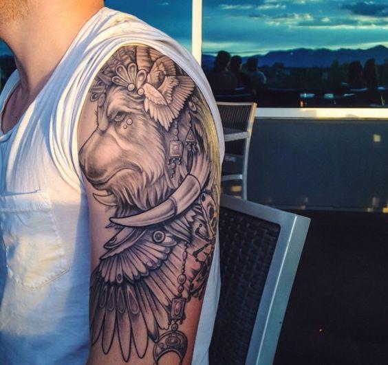 // Tribal ram lion sleeve      Tattoo's      Pinterest ...