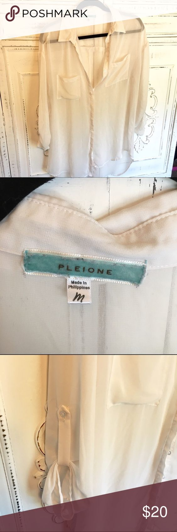 Pleione Hi-Low White Sheer Shirt This shirt looks awesome over a tank with skinny jeans. Perfect relaxed shirt for brunch. Very sheer, very soft, very cute. 100% polyester. Front from shoulder to hem :28 in.                         Back from shoulder to hem  :32in Pleione Tops Button Down Shirts