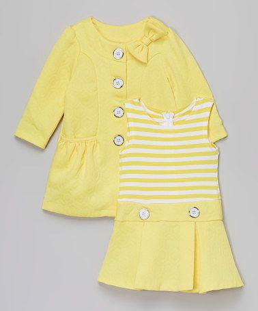 Yellow Stripe Drop-Waist Dress & Peacoat - Infant & Toddler by Gerson & Gerson #zulily #zulilyfinds