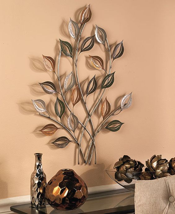 Silver Leaves Wall Decor : Gold silver metal leaves wall sculpture leaf art