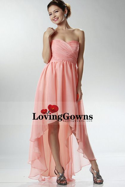 Party Dresses/Formal Dresses/Long Prom Dresses/High Low Skirt Sweetheart Fitted And Pleated Bodice Chiffon Dress