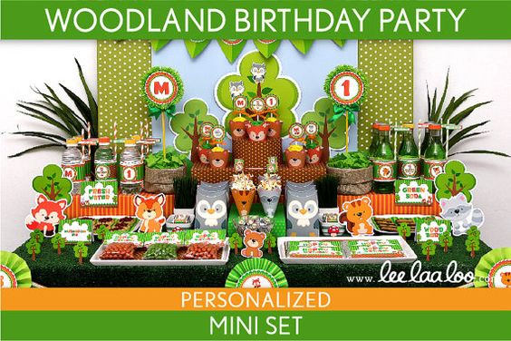 Woodland Birthday Party Package Collection Set Mini Personalized Printable // Woodland Friends - B98Pz1