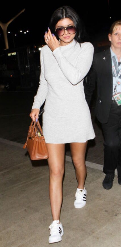 Kylie Jenner. Simple dress with Adidas trainers