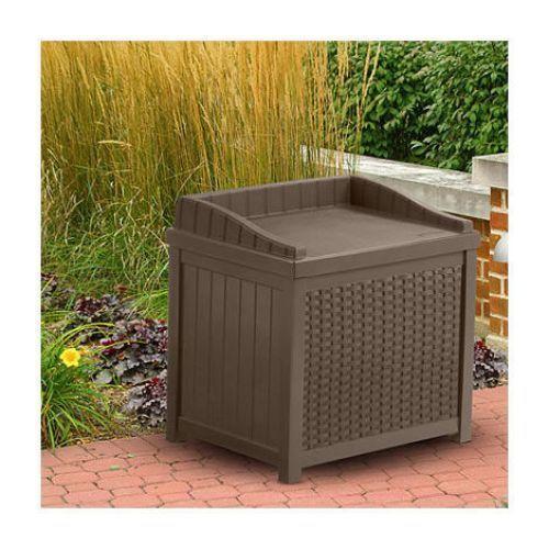 Garden Storage Seat Resin Wicker Effect