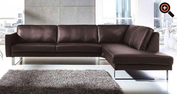 modernes sofa – designer couch fürs wohnzimmer aus leder – schwarz, Wohnzimmer dekoo