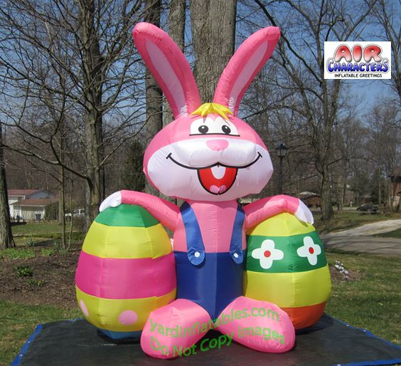 Cheap Inflatable Yard Decorations: Air Blown Inflatable Easter Bunny 2 Eggs