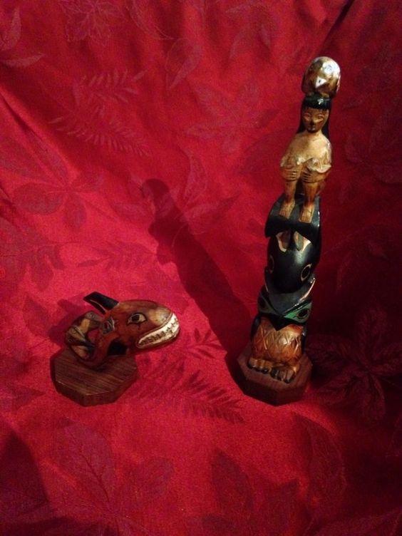 Vintage alaska carved wooden totem poles by black diamond