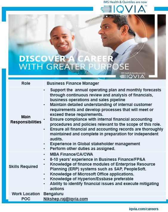 Business Finance Manager Bangalore Job Openings Business Finance Job Opening Finance