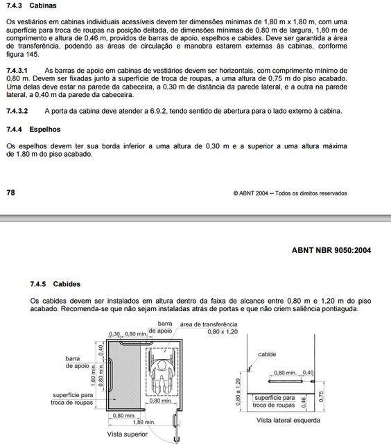 Dimensões para troca de roupa / cadeirante