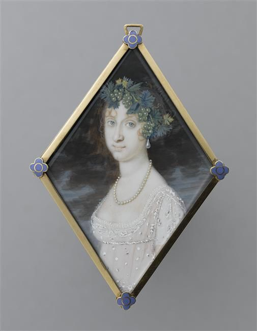 Front of a rare double -sided miniature of Maria Antonia of Naples and Sicily, Princess of Asturias.