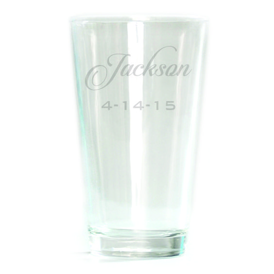 Pub Glass - 16oz - Script Personalized with Date