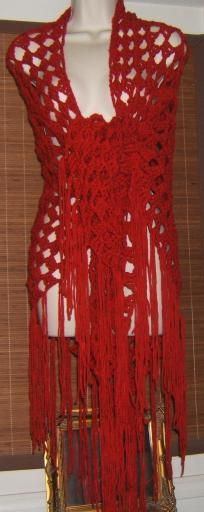 HANDMADE CROCHET CLUSTER SHAWL RED $73.99