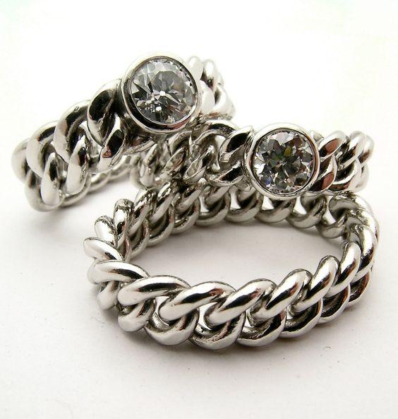 Hand Made Platinum Chain diamond Ring. by DanielSommerfeld on Etsy https://www.etsy.com/listing/122899652/hand-made-platinum-chain-diamond-ring