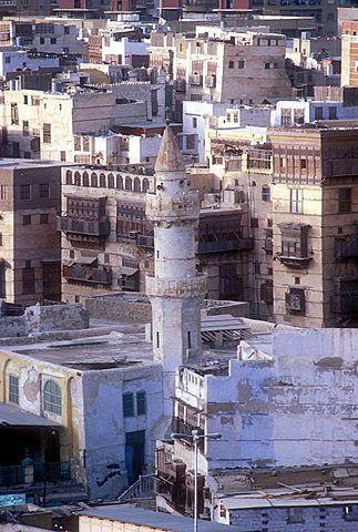 Minaret of old mosque, Jeddah, Saudi Arabia