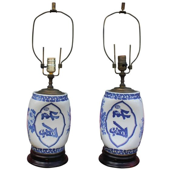 Fabulous Pair of Chinese Blue and White Lamps | From a unique collection of…