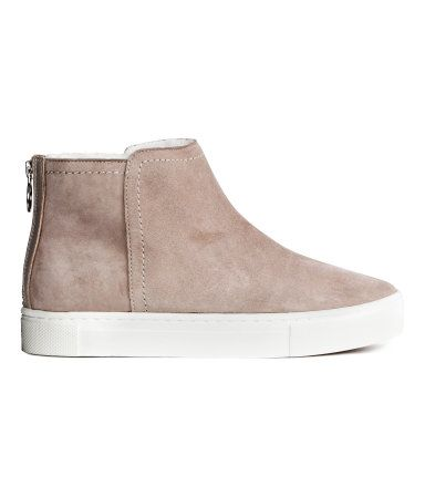 Pile-lined Suede Sneakers | Light gray | Ladies | H&M US