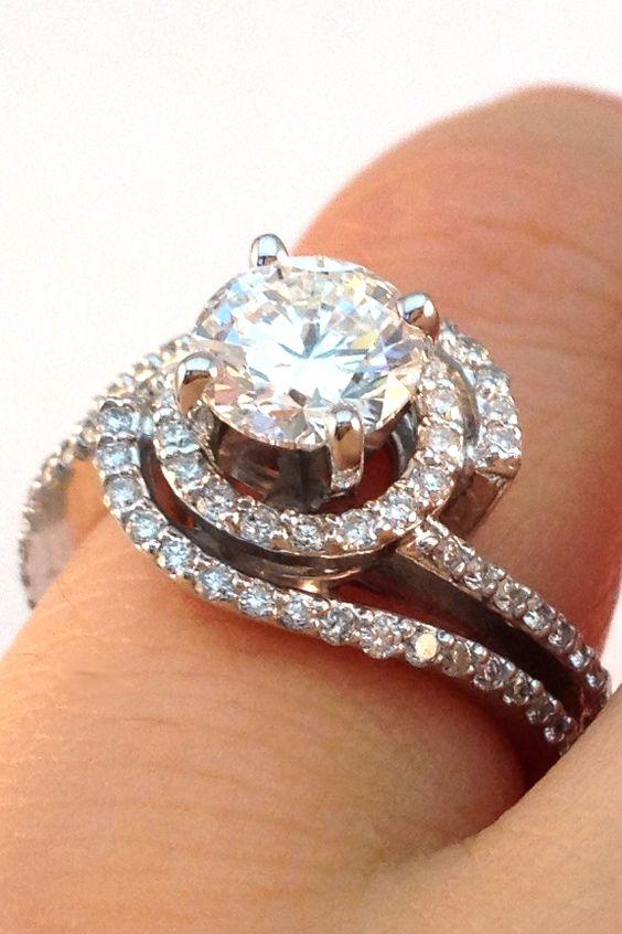 Double Swirl Diamond Halo Engagement Ring Amp Wrap Wedding Band