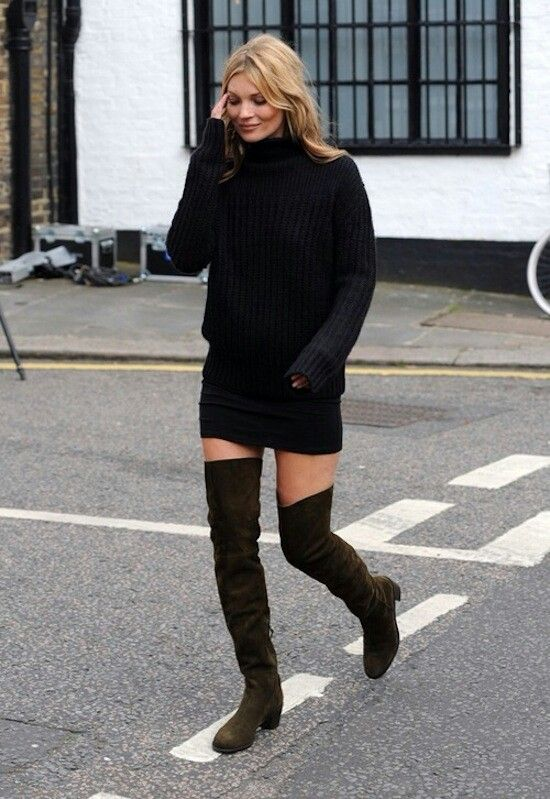 Kate Moss Brown Suede Over The Knee Boots Black Chunky Jumper And ...