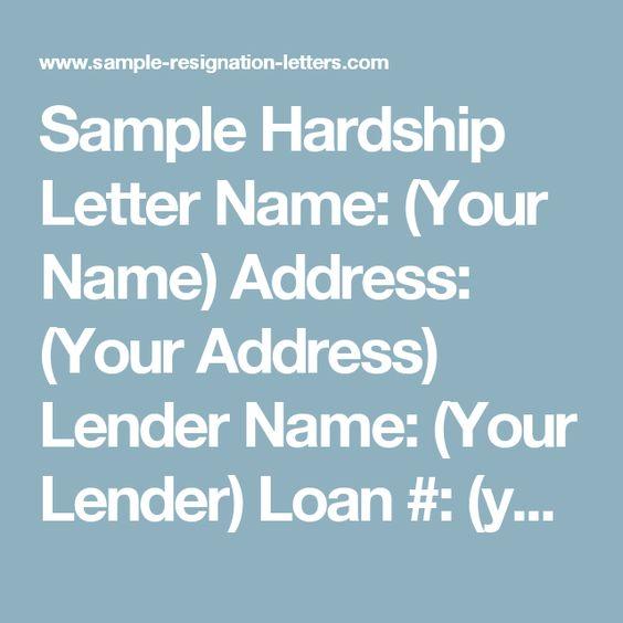Sample Hardship Letter Name Your Name Address Your Address