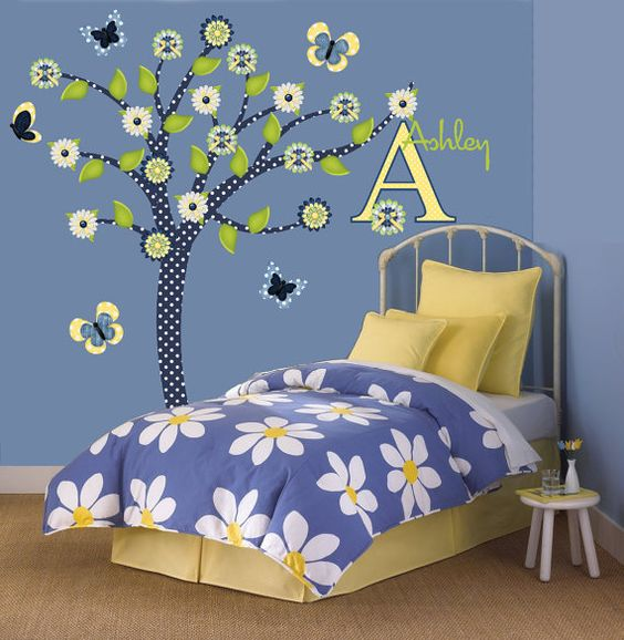 children wall decals tree decal denim daisy tween girl