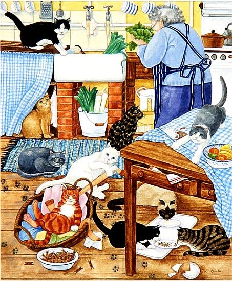 Linda Benton, 'Grandma and 10 cats in the kitchen'