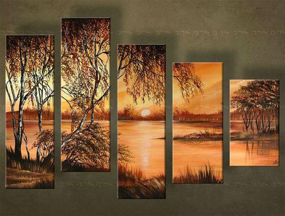 Ručne maľovaný obraz ZÁPAD SLNKA 5 dielny 4813FA