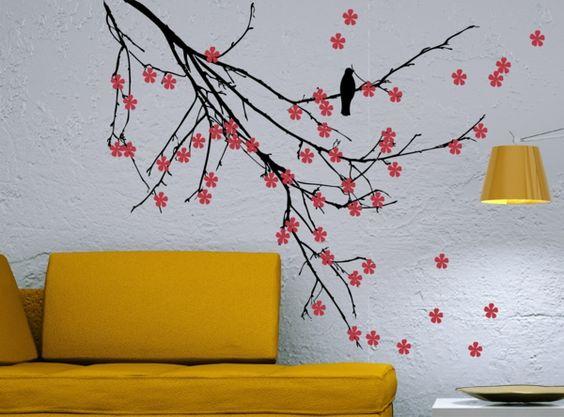 Design : Wandgestaltung Wohnzimmer Gelb ~ Inspirierende Bilder Von ... Gelbe Dekowand Blume Fr Wohnzimmer