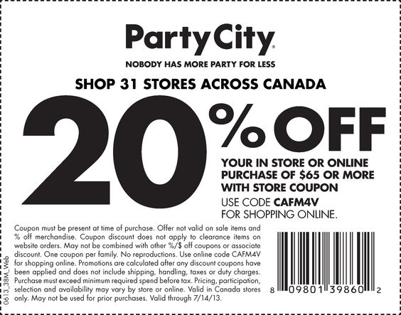 Party City Printable Coupon 20 off with purchase Coupons etc - coupon disclaimer examples