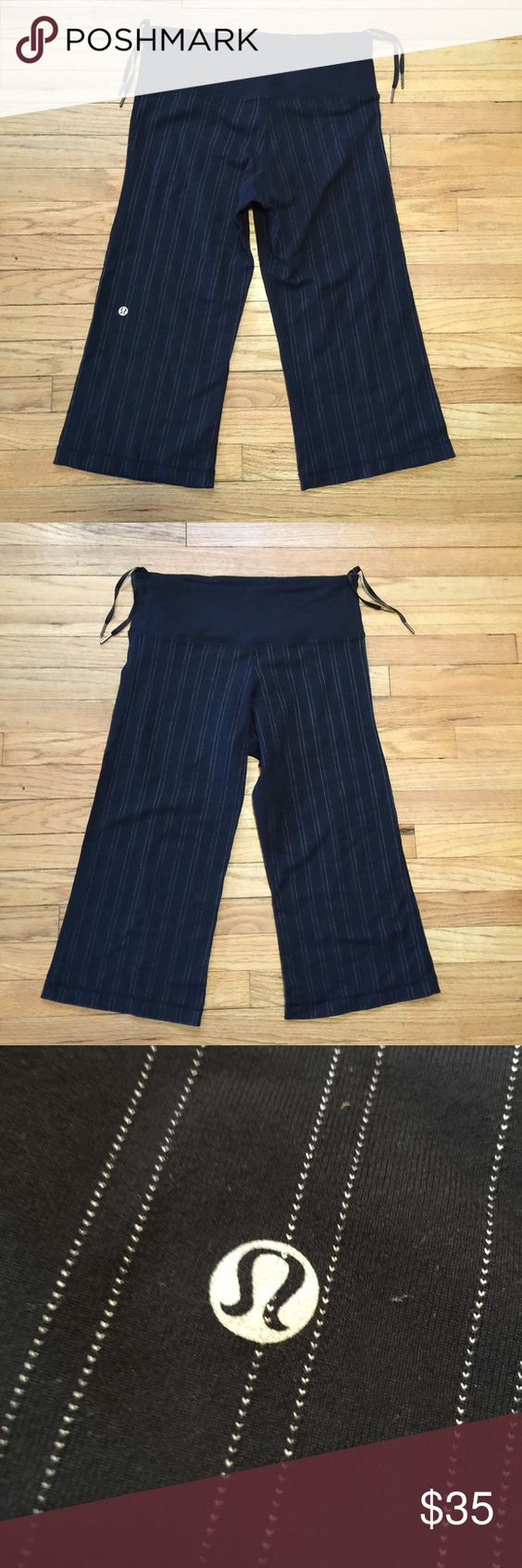 Lululemon black striped workout capris - size 6. Lululemon black striped workout capris - size 6. Waist - 14 inches. Rise - 11 inches. Inseam - 18.5 inches. Excellent condition lululemon athletica Pants Ankle & Cropped