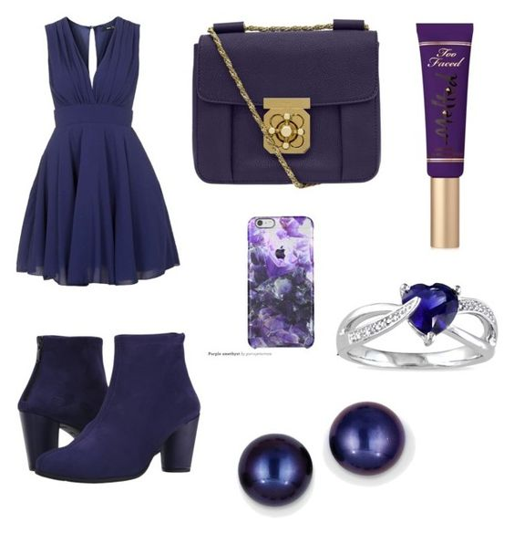 """Peeping Violet"" by juneisbest ❤ liked on Polyvore featuring TFNC, Arche, Chloé, Kevin Jewelers, Miadora and Too Faced Cosmetics"