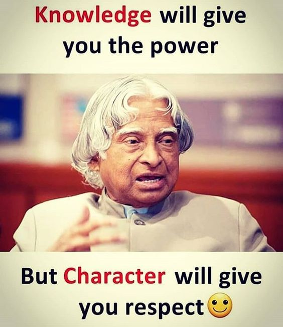 Knowledge gives character