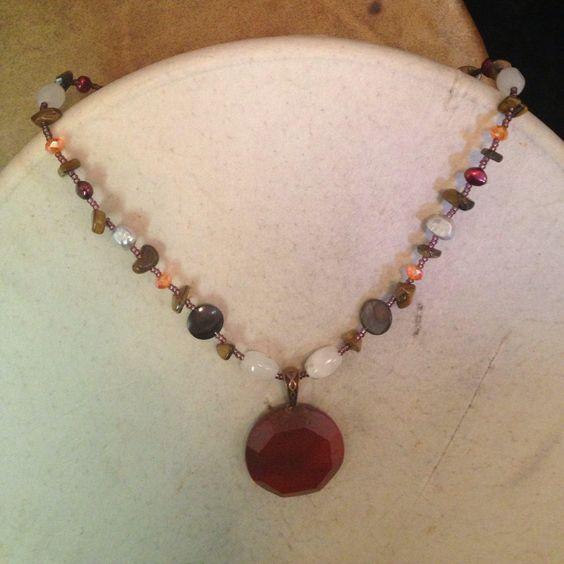 Red River Agate Pendant and Earrings Set OOAK