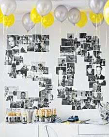 Take everyone for a stroll down memory lane with photos of the guest of honor. Include shots from all eras, with lots of friends and family. Unify the images -- and give them classic vintage appeal -- by printing them in black-and-white.