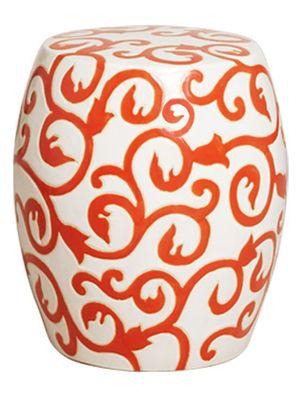 Orange and White Ceramic Garden Stool