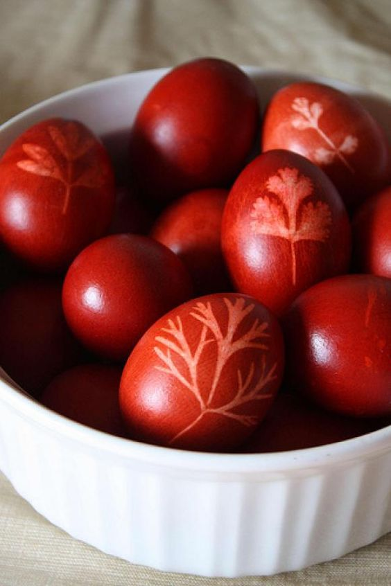 gorgeous red Greek Easter eggs - not so much a recipe as a DIY, but they are cooked to serve at Easter dinner in Greece.