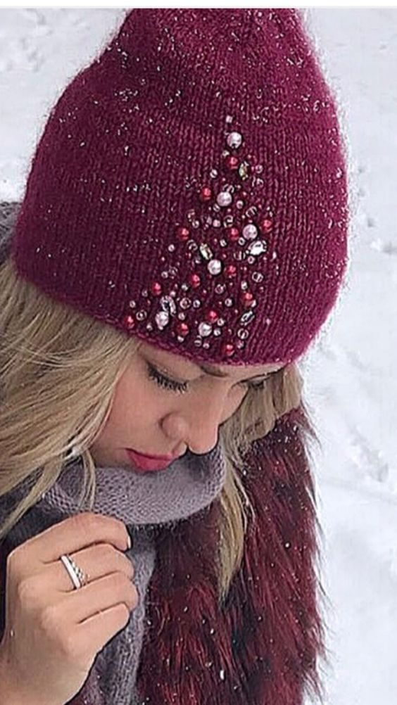 Beaded embelllishment on beanie