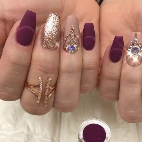 58 Elegant Maroon Nail Design Ideas Maroon Nail Designs Maroon Nails Nail Jewels
