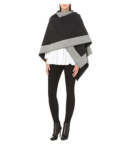 BURBERRY Checked wool and cashmere-blend blanket cape (Dark+grey)