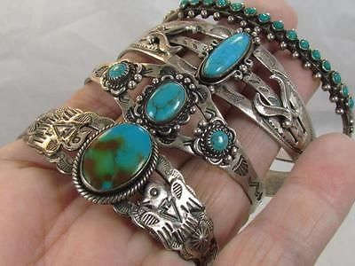 4 OLD HARVEY ERA NAVAJO STERLING SILVER TURQUOISE THUNDERBIRD CUFF BRACELET LOT
