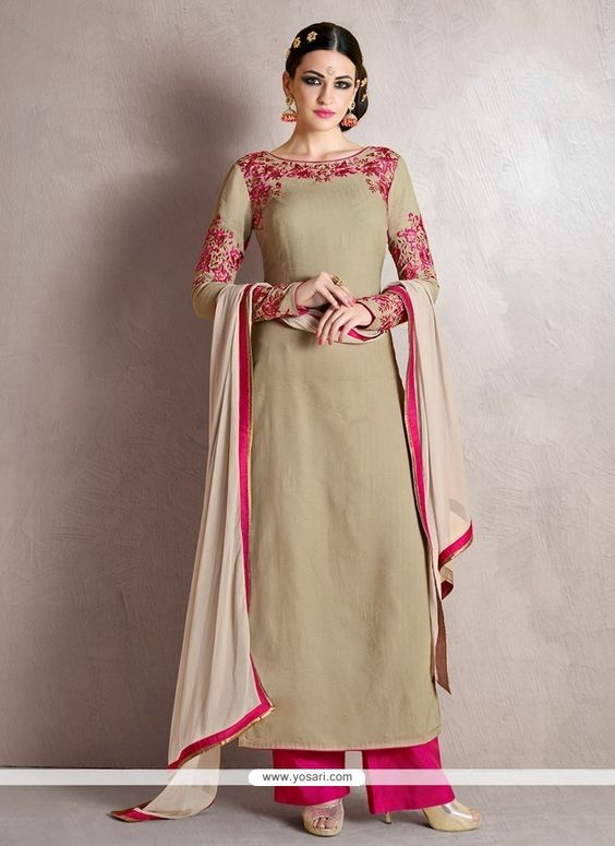 Splendid Georgette Grey Resham Work Designer Palazzo Salwar Suit Model: YOS7093