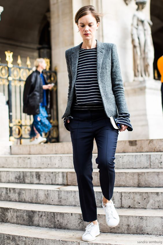 Simple tailoring and sneakers