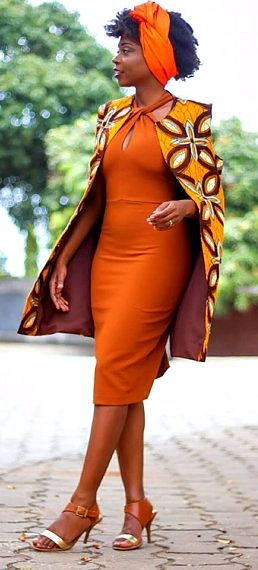 African Cape Jacket. A beautiful cape jacket made from Ankara print fabric. It hangs on your shoulder and needs no fastenings. Ankara | Dutch wax | Kente | Kitenge | Dashiki | African print dress | African fashion | African women dresses | African prints | Nigerian style | Ghanaian fashion | Senegal fashion | Kenya fashion | Nigerian fashion | Ankara crop top (affiliate)