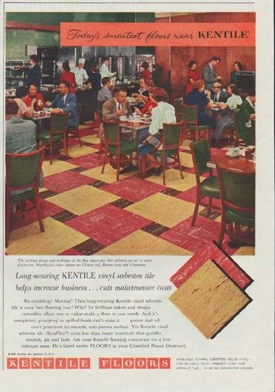 "Description: 1957 KENTILE FLOORS vintage print advertisement ""Today's smartest floors""-- Today's smartest floors wear Kentile. Marbleized colors shown are Chinese red, Burma ivory and Cinnamon. Long-wearing Kentile vinyl asbestos tile helps increase business ... cuts maintenance costs. -- Size: The dimensions of the three-quarter-page advertisement are approximately 7.75 inches x 11 inches (19.5 cm x 28 cm). Condition: This original vintage three-quarter-page advertisement is in Very Good Con...:"
