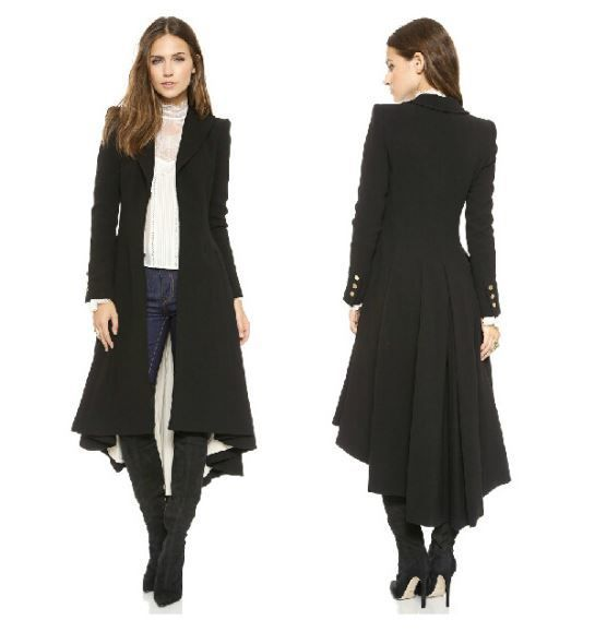 Black Long Coats for Women Ruffled Tail British Style Tuxedo