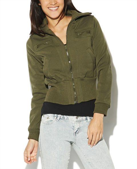 Ribbed Collar Fleece Jacket