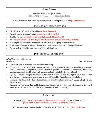 Free General Resume Template Resume Template Resume Template Professional Resume Outline