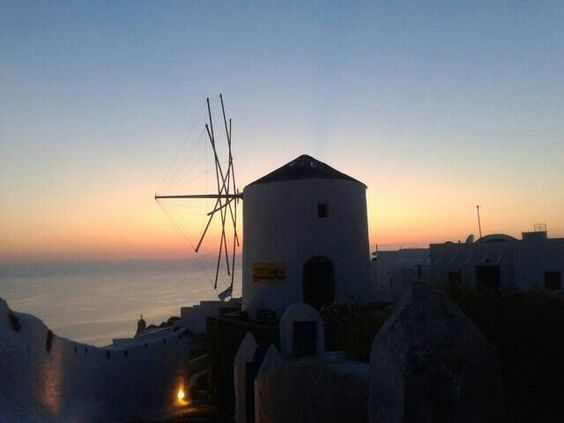 Grecce windmill at sunset