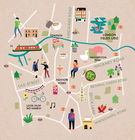 Map of East London for Cara Magazine Fuchsia Macaree – Map of East London