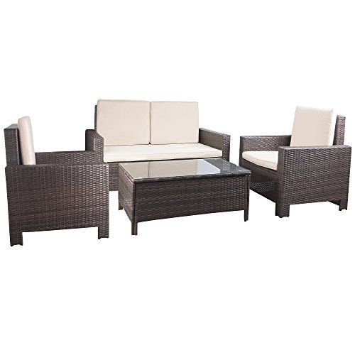 Devoko Porch Patio Furniture Set Clearance 4 Piece Pe Rattan Wicker Garden Sofa Beig Pool Patio Furniture Outdoor Wicker Furniture Outdoor Patio Furniture Sets