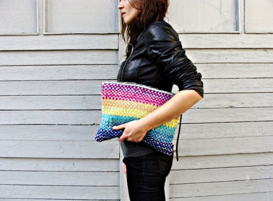 Rainbow Stripes Knitted Clutch by Nudakillers on Etsy